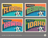 United States vintage typography postcards Stock Images