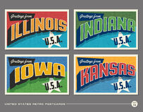 United States vintage typography postcards Stock Photos