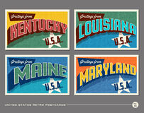 United States vintage typography postcards Stock Photos