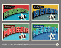 United States vintage typography postcards Stock Photo