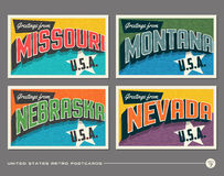 United States vintage typography postcards Stock Image