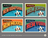 United States vintage typography postcards Royalty Free Stock Image