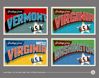 United States vintage typography postcards Stock Photography