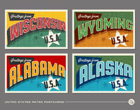 United States vintage typography postcards Royalty Free Stock Photos