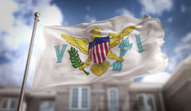 United States Virgin Islands Flag 3D Rendering on Blue Sky Build stock illustration