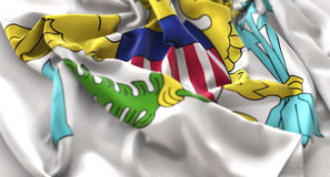 United States Virgin Islands Flag Ruffled Beautifully Waving Mac. Ro Close-Up Shot Studio Royalty Free Stock Photo