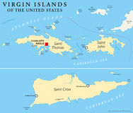 United States Virgin Islands Political Map Royalty Free Stock Photography