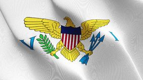 United States Virgin Islands US State flag waving on wind. stock photos