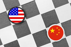 United States vs China. Draughts Checkers - United States vs China. Competition of two countries on supremacy and leadership. Two biggest economies and military Stock Photo