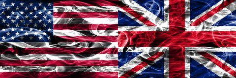United States vs United Kingdom smoke flags concept placed side royalty free illustration