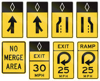 United States warning MUTCD road signs Royalty Free Stock Image