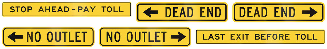 United States warning MUTCD road signs Stock Images