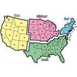 United states west midwest east sout Stock Image