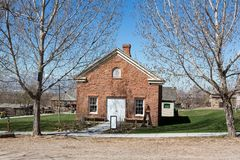 United States West Pioneer Schoolhouse. United States early West pioneer era schoolhouse building from 1800s Stock Images