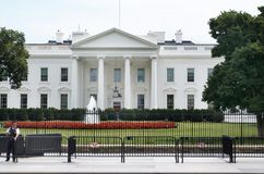 United States White House Heavy Security July 17, 2017. The White House in Washington D.C. July 17, 2017. Heavy Security, armed guard standing out front of White Royalty Free Stock Images