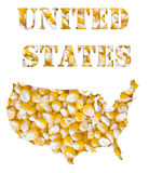 United States word and country map shaped with corn seeds. A texture of yellow corn maize seeds with the shape of the word United States and the country Royalty Free Stock Photo