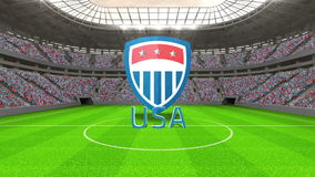United States world cup message with badge and text stock video footage