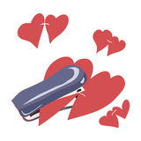 United stationery stapler hearts. On Valentine's Day Royalty Free Stock Image