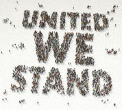 UNITED WE STAY text written out of people. Aerial view of UNITED WE STAY text written out of people vector illustration
