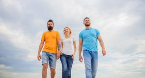 United threesome true friends. True friendship grow with destiny obstacles. United group purposefully moves forward. Friendship tested for years. Men and women stock photo