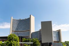 Uniteden Nations som bygger i Wien Österrike arkivbild