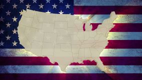 Unites States America map with national flag, old glory. Stock footage stock video footage