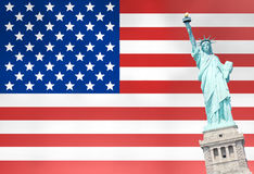 Unites States Flag Statue of Liberty Royalty Free Stock Photography