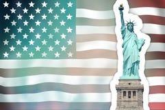 Unites States Flag Statue of Liberty Stock Image