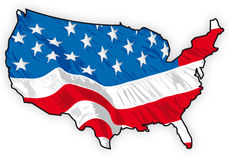 Unites states map wit america flag inside Royalty Free Stock Images