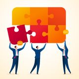 Uniting business puzzle. Uniting puzzle piece to get final integrated system. Business teamwork concept illustration royalty free illustration