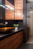 Units in bathroom. Wooden units in modern designed new bathroom royalty free stock photography