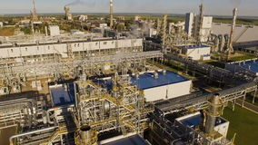 Units for nitric acid production on fertilizer plant. Aerial view. Units for nitric acid production on fertilizer plant stock video