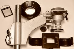 Units of the portable enlarger on the table Royalty Free Stock Images