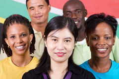Unity. People unity: group of diversity people together, background is south african flag, 2010 fifa world cup concept stock photo