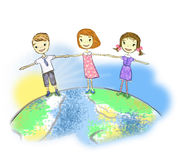 Unity. Girls and boys holding hands in unity Royalty Free Stock Image