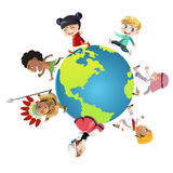 Unity. A vector illustration of kids in different nationalities dressed in their traditional clothes running around the world, can be used for unity or diversity stock illustration