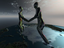 Unity. 3d rendered image with the unity of two people Stock Photos