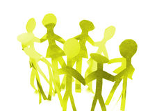 Unity. A group of yellow paper people holding hand united, isolated on a white background Royalty Free Stock Photo