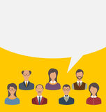 Unity of business people team with speech bubble, modern flat ic Stock Photos