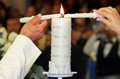 Unity candle ceremony Stock Photo
