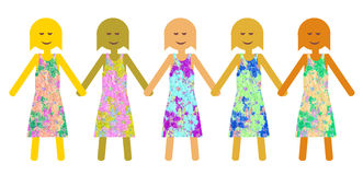 Unity in diversity - Girl power Royalty Free Stock Image