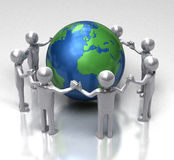 Unity for Ecology. Shiny 3D characters holding hands in a chain around earth Royalty Free Stock Images