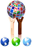 Unity Figures with Globe Stock Images