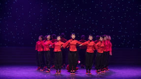 Unity of foreign-Sorghum field-Chinese folk dance. May 15, 2016, from Jiangxi province around the dancers gathered to exchange skills. At the Nanchang Repertory Stock Photos