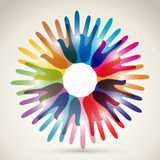 Unity, Friendhsip, Together - Hands Vector Illustration. Royalty Free Stock Images