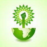 Unity hand make tree on earth. Vector illustration Royalty Free Stock Photography