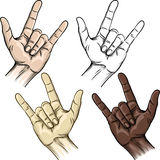 Unity and horns gesture Royalty Free Stock Images