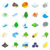 Unity with nature icons set, isometric style. Unity with nature icons set. Isometric set of 25 unity with nature vector icons for web isolated on white Royalty Free Stock Photos