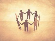 Unity of paper human teamwork. Retro effect Stock Photos