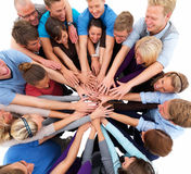 Unity - People putting hands together Royalty Free Stock Image